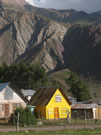 Yellows:Houses in Termas del Flaco, the place famous for dinosaur prints